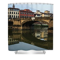 Postcard From Florence - Arno River And Ponte Santa Trinita  Shower Curtain