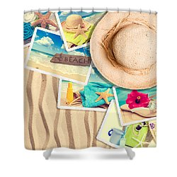 Postcards In The Sand Shower Curtain by Amanda Elwell