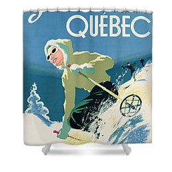 Poster Advertising Skiing Holidays In The Province Of Quebec Shower Curtain by Canadian School