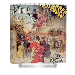 Poster Advertising The Montagnes Russes Roller Coaster Shower Curtain by French School