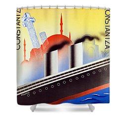 Poster Advertising The Polish Palestine Line Shower Curtain by Zygmunt Glinicki