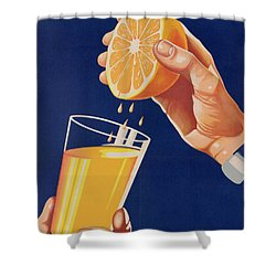 Poster With A Glass Of Orange Juice Shower Curtain by Israeli School