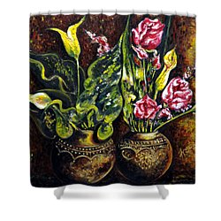 Shower Curtain featuring the painting Pots And Flowers by Harsh Malik
