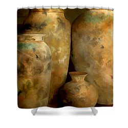 Pots Of Time Shower Curtain by Michael Pickett