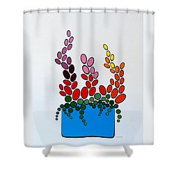Potted Blooms - Blue Shower Curtain by Thomas Gronowski