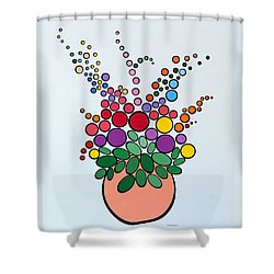 Potted Blooms - Orange Shower Curtain by Thomas Gronowski