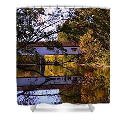 Potter's Covered Bridge Reflection Shower Curtain