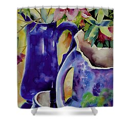 Pottery And Flowers Shower Curtain