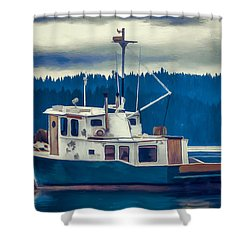Poulsbo Waterfront 03 Shower Curtain by Wally Hampton