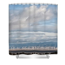 Power From The Wind In Western Skies Shower Curtain by Michael Flood