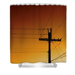 Power Line Sunset Shower Curtain by Don Spenner