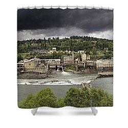 Power Plant At Willamette Falls Lock Shower Curtain by Jit Lim