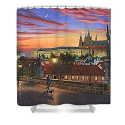 Prague At Dusk Shower Curtain by Richard Harpum