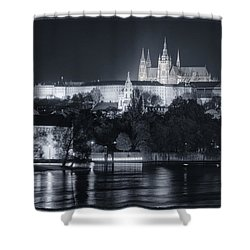 Prague Castle At Night Shower Curtain by Joan Carroll