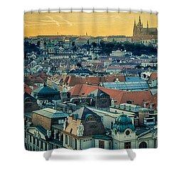 Prague Castle Sunset Shower Curtain by Joan Carroll
