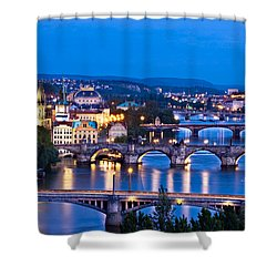 Shower Curtain featuring the photograph Prague Cityscape At Night by Barry O Carroll