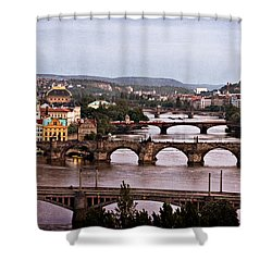 Prague Cityscape - Texture Shower Curtain by Barry O Carroll