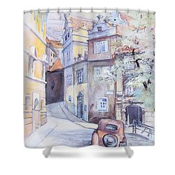 Prague Golden Well Lane Shower Curtain