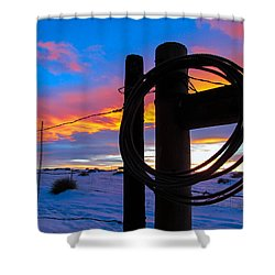 Prairie Fence Sunset Shower Curtain