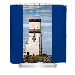 Shower Curtain featuring the painting Prairie Icon - Manitoba Pool Elevator by Marilyn  McNish