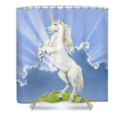 Prancing Unicorn Shower Curtain by Irvine Peacock