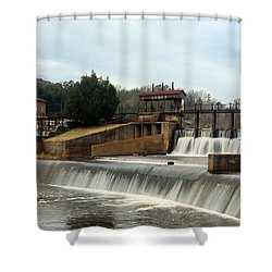 Shower Curtain featuring the photograph Prattville Dam Prattville Alabama by Charles Beeler