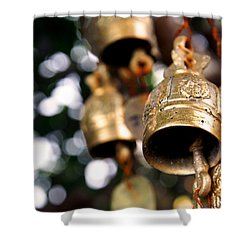 Prayer Bells Shower Curtain by Justin Woodhouse
