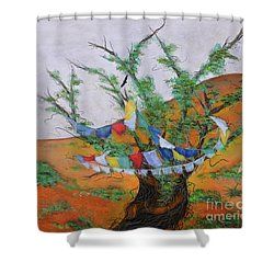 Shower Curtain featuring the painting Prayer Flags by Deborha Kerr
