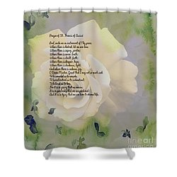 Prayer Of St. Francis And Yellow Rose Shower Curtain by Barbara Griffin