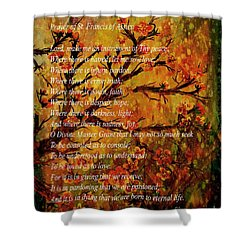 Prayer Of St. Francis Of Assisi  And Cherry Blossoms Shower Curtain by Barbara Griffin