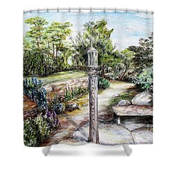 Prayer Wheel At Pacifica's Lambert Campus- Postcard Shower Curtain by Danuta Bennett