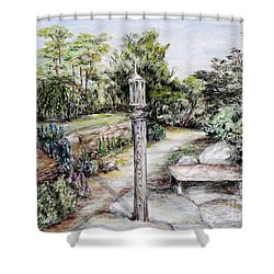 Prayer Wheel Shower Curtain by Danuta Bennett