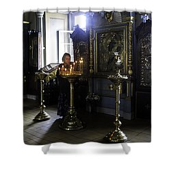 Praying At The Convent - Moscow - Russia Shower Curtain by Madeline Ellis
