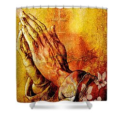 Praying Hands With Sacred Heart Shower Curtain