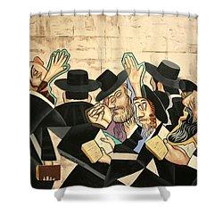 Praying Rabbis Shower Curtain