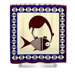 Pre-columbian Stork Fish Shower Curtain