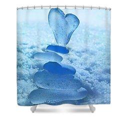 Precarious Heart Shower Curtain by Barbara McMahon