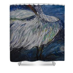 Shower Curtain featuring the painting Preening Crane by Avonelle Kelsey