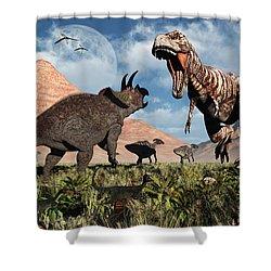 Prehistoric Battle Shower Curtain by Mark Stevenson