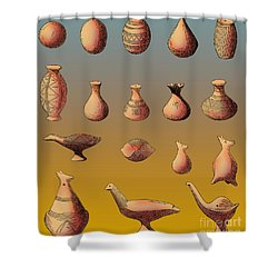 Prehistoric Clay Rattles Bronze Age Shower Curtain by Photo Researchers