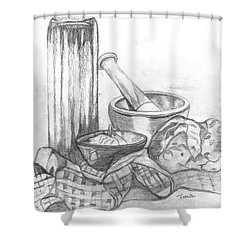 Shower Curtain featuring the drawing Preparing Starter Course by Teresa White