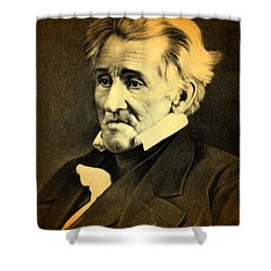 President Andrew Jackson Portrait And Signature Shower Curtain by Design Turnpike