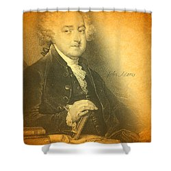 President John Adams Portrait And Signature Shower Curtain by Design Turnpike