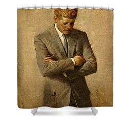 President John F. Kennedy Official Portrait By Aaron Shikler Shower Curtain