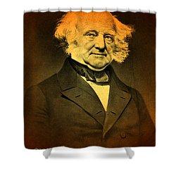 President Martin Van Buren Portrait And Signature Shower Curtain by Design Turnpike