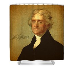 President Thomas Jefferson Portrait And Signature Shower Curtain by Design Turnpike