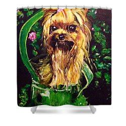 Shower Curtain featuring the painting Pretty Bambi by Belinda Low