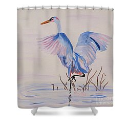 Shower Curtain featuring the painting Pretty Crane by Phyllis Kaltenbach