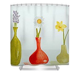 Pretty Flowers In A Row Shower Curtain