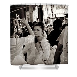 Pretty Girl In The Crowd - Times Square - New York Shower Curtain by Miriam Danar